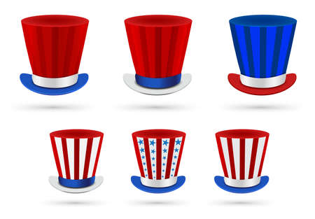 Six independence day hats set in different color combinations Vector