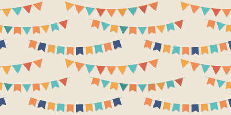Bunting party flags seamless pattern designs Vector