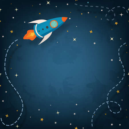 Spaceship illustration with space for your text in cartoon style Vector