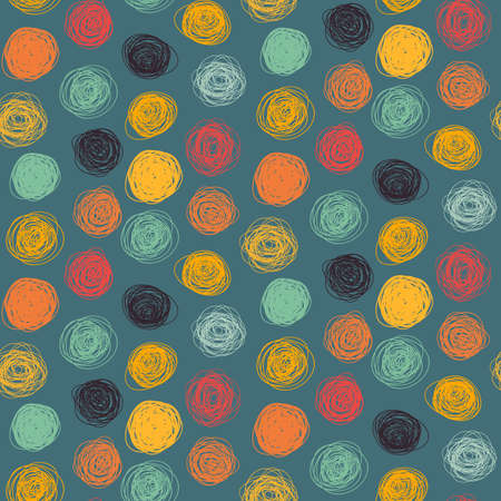 circle shape: Colorful seamless abstract childish scribble pattern