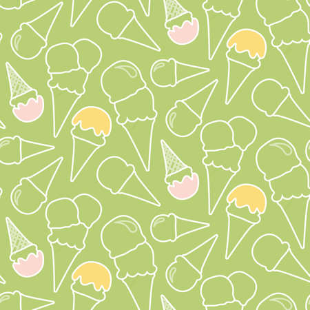 Seamless summer ice cream pattern (pistachio or mint background)