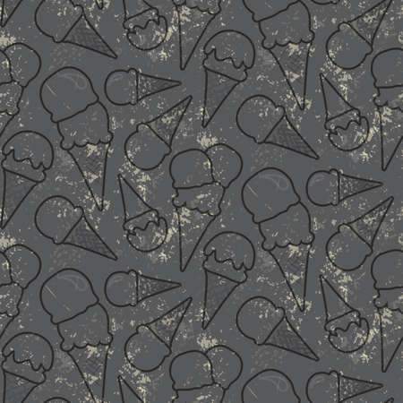 cons: Grunge seamless vector pattern with ice cream cons on grey background
