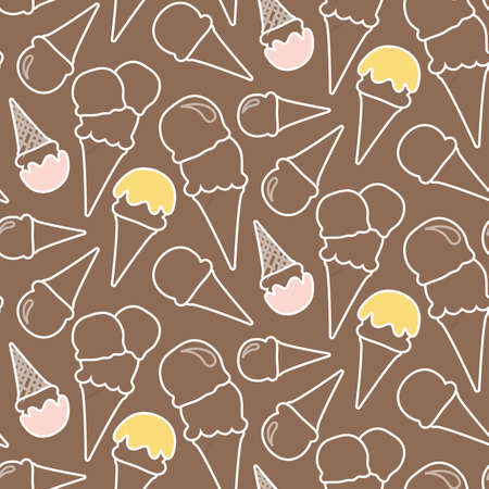 fondo chocolate: Patr�n helado incons�til del verano (fondo de chocolate) Vectores