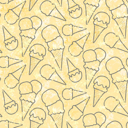cons: Grunge seamless pattern pattern with ice cream cons on yellow background