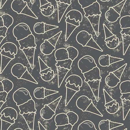 Grunge seamless vector pattern with ice cream cons on grey background