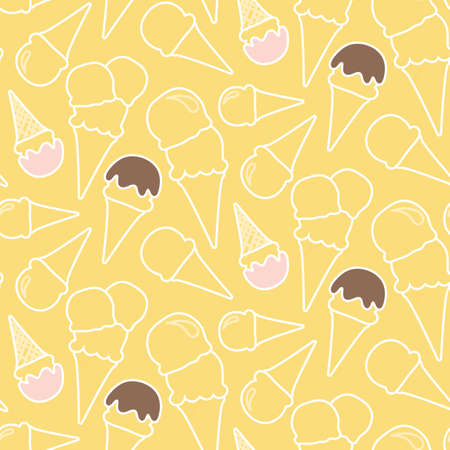 Seamless summer ice cream pattern (melon or vanilla background)