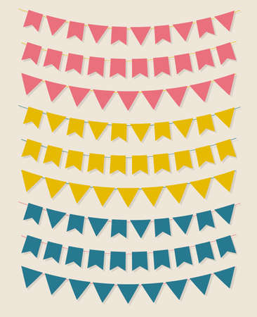 Vector bunting party flags set in different colors Vector