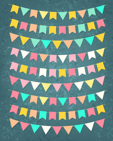 Vector bunting party flags set in different colors on grunge background Vector