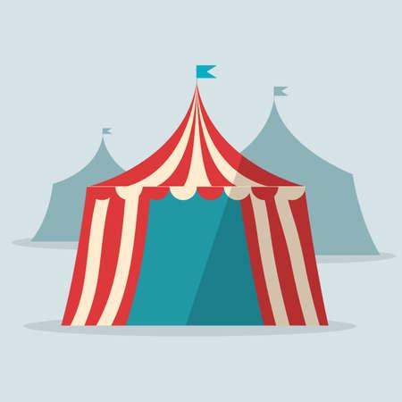 big top tent: Vintage circus tent flat design Illustration