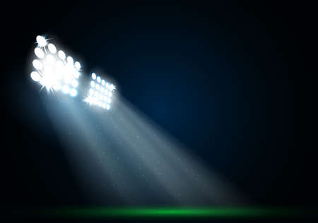 soccer field: Two spotlights on a football field vector