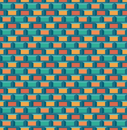 90s: Old school 8 bit brick arcade game style background (seamless vector) Illustration