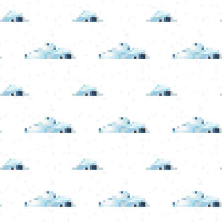 2d wallpaper: Seamless vector cloud pattern pixel art