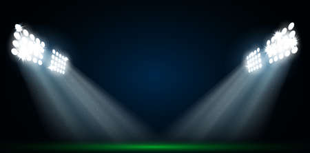 soccer stadium: Four spotlights on a football field vector