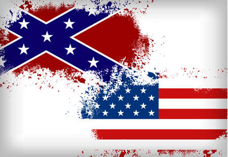 us grunge flag: Confederate flag vs. Union flag. Civil war concept Illustration