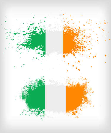 irish banners: Grunge Irish ink splattered flag vectors Illustration