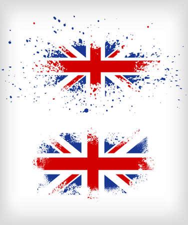 drapeau angleterre: Grunge encre �clabouss�e vecteurs de drapeau britannique