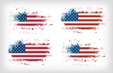 Grunge american ink splattered flag vectors Çizim