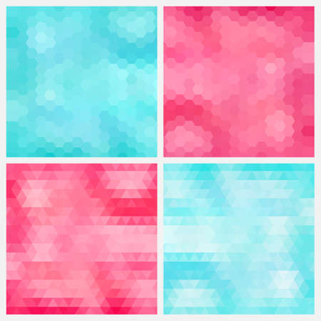 Happy abstract aquamarine and pink geometric backgrounds  Иллюстрация