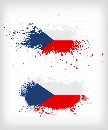 bad condition: Grunge czech  ink splattered flag vectors
