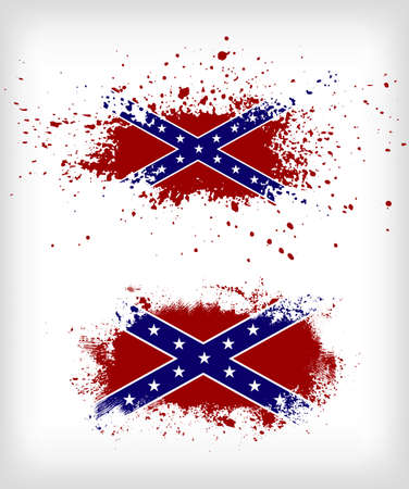 Grunge confederate flags vector set