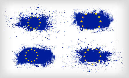 Set of four grunge vector ink spattered European Union flags Stock Illustratie