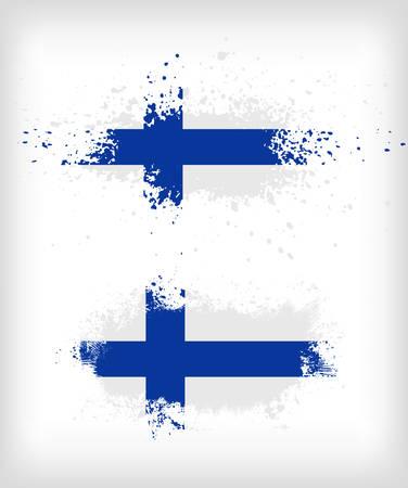 finnish: Grunge finnish ink splattered flag vectors