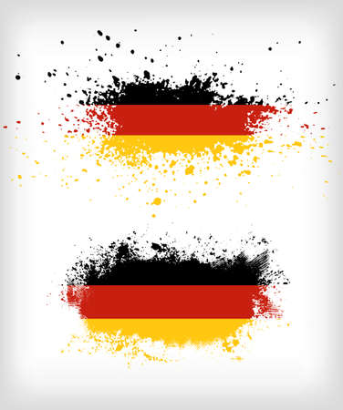 Grunge german ink splattered flag vectors