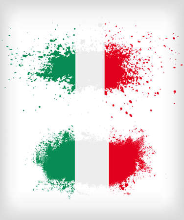 Grunge italian ink splattered flag vectors