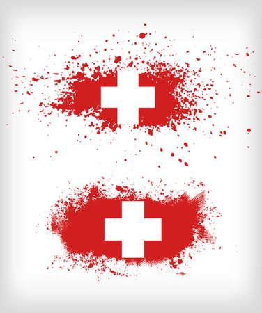 スイス連邦共和国のベクトルのグランジ インク飛び散ったフラグ