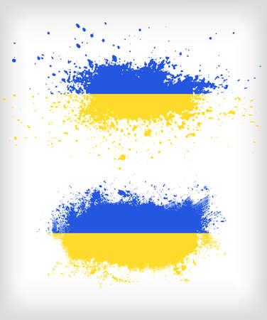 グランジ ウクライナ インク飛び散ったフラグ ベクトル