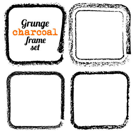 charcoal: Set of four grunge square charcoal frames vector
