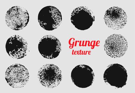 Grunge circle vector element set. Stamp stain texture Ilustração