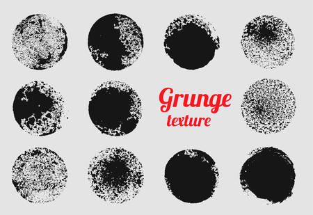 Grunge circle vector element set. Stamp stain texture Illustration