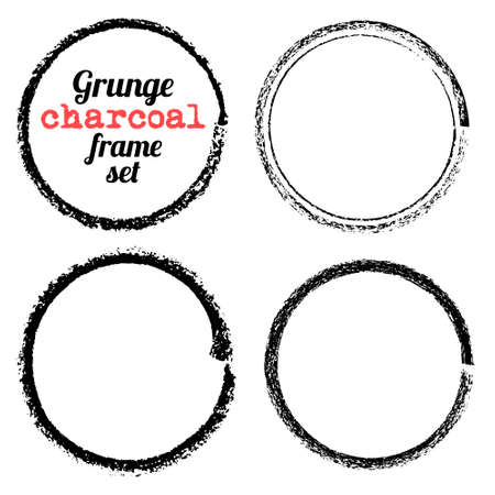 Set of four grunge circle charcoal frames vector Illustration