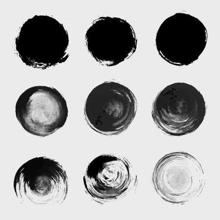 Grunge paint circle element set. Brush smear stain texture Vector