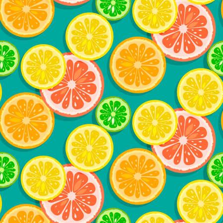 Seamless citrus fruits background vector (grapefruit,lime,lemon,orange) Vector