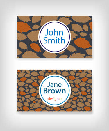 moderate: Business card design with fallen leaves