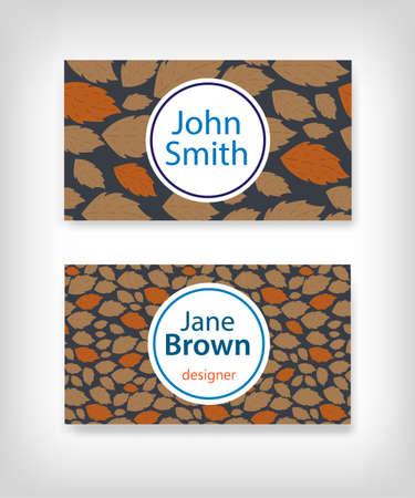 fallen: Business card design with fallen leaves