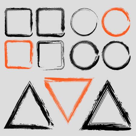 Set van grunge houtskool frames van verschillende vormen vector