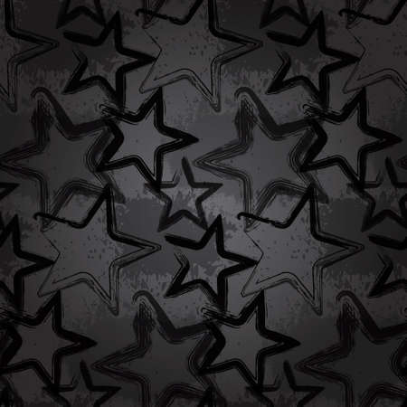 Grunge rock star background, brush smear stars Ilustracja