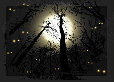 Spooky midnight  grunge forest illustration for halloween