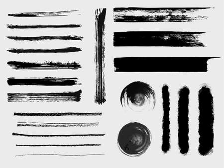 Set of grungy vector brushes Çizim