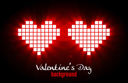 Shining pixel hearts for Valentines day designs. Online dating, distant relationship and love concept Vector