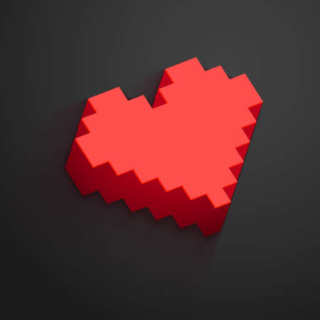 distant: Pixel heart button vector for Valentines day designs. Online dating, distant relationship and love concept