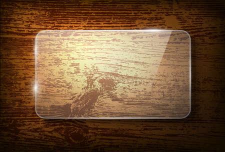 glass reflection: Vector glass frame on vintage wooden background