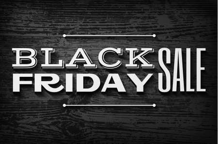 black textured background: Black friday announcement on  vector wooden background Illustration