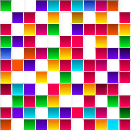 rainbow background: Colorful childish rainbow colored squares, seamless vector pattern