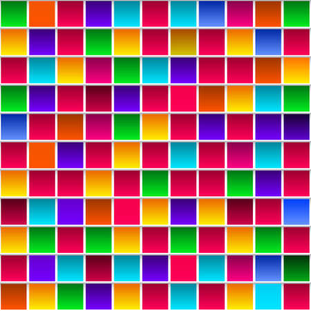 rainbow abstract: Colorful childish rainbow colored squares, seamless vector pattern
