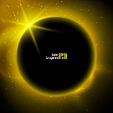 Eclipse illustration, planet in space in yellow rays of light  vector background Vector