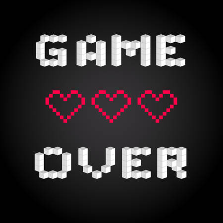 bit: Game over screen, old school gaming poster, failure concept